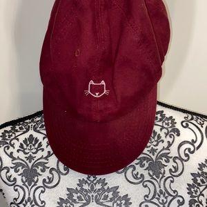 Kitty cat maroon baseball cap